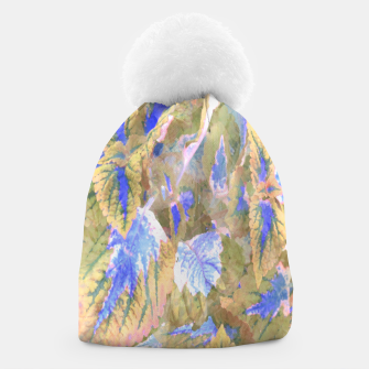 Thumbnail image of botanical coleus leaves camouflage art 2/3 ( yellow blue ) Beanie, Live Heroes