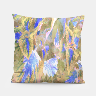 Thumbnail image of botanical coleus leaves camouflage art 2/3 ( yellow blue ) Pillow, Live Heroes