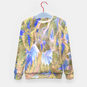 Thumbnail image of botanical coleus leaves camouflage art 2/3 ( yellow blue ) Kid's sweater, Live Heroes