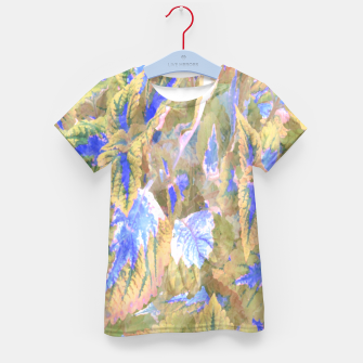 Miniatur botanical coleus leaves camouflage art 2/3 ( yellow blue ) Kid's t-shirt, Live Heroes