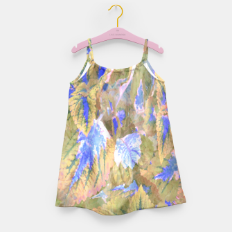 Miniaturka botanical coleus leaves camouflage art 2/3 ( yellow blue ) Girl's dress, Live Heroes