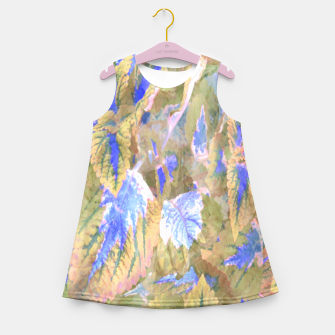 Miniaturka botanical coleus leaves camouflage art 2/3 ( yellow blue ) Girl's summer dress, Live Heroes