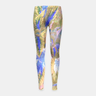 Thumbnail image of botanical coleus leaves camouflage art 2/3 ( yellow blue ) Girl's leggings, Live Heroes