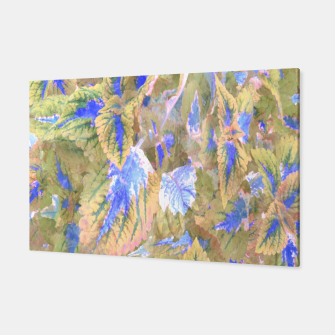 Thumbnail image of botanical coleus leaves camouflage art 2/3 ( yellow blue ) Canvas, Live Heroes