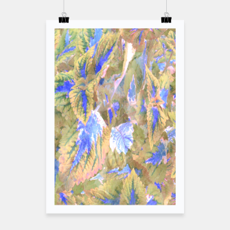 Thumbnail image of botanical coleus leaves camouflage art 2/3 ( yellow blue ) Poster, Live Heroes