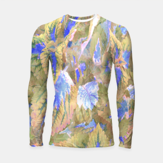 Thumbnail image of botanical coleus leaves camouflage art 2/3 ( yellow blue ) Longsleeve rashguard , Live Heroes