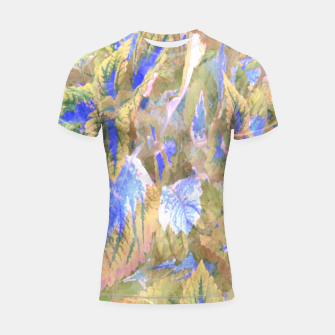 Thumbnail image of botanical coleus leaves camouflage art 2/3 ( yellow blue ) Shortsleeve rashguard, Live Heroes