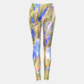 Thumbnail image of botanical coleus leaves camouflage art 2/3 ( yellow blue ) Leggings, Live Heroes