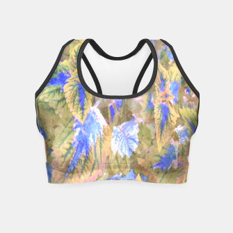 Thumbnail image of botanical coleus leaves camouflage art 2/3 ( yellow blue ) Crop Top, Live Heroes