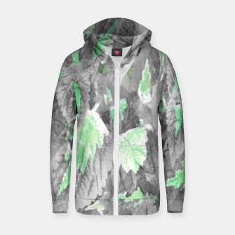 Thumbnail image of botanical coleus leaves camouflage art 3/3 ( gray green ) Zip up hoodie, Live Heroes