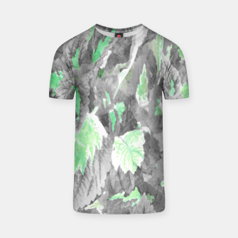 Thumbnail image of botanical coleus leaves camouflage art 3/3 ( gray green ) T-shirt, Live Heroes