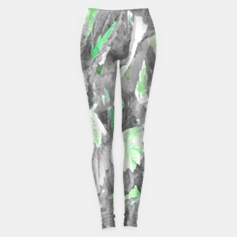 Miniatur botanical coleus leaves camouflage art 3/3 ( gray green ) Leggings, Live Heroes