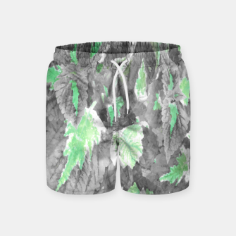 Thumbnail image of botanical coleus leaves camouflage art 3/3 ( gray green ) Swim Shorts, Live Heroes