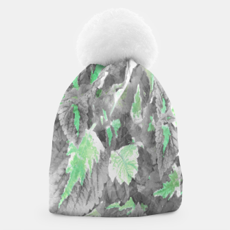 Thumbnail image of botanical coleus leaves camouflage art 3/3 ( gray green ) Beanie, Live Heroes