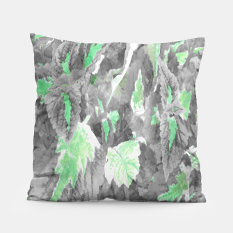 Thumbnail image of botanical coleus leaves camouflage art 3/3 ( gray green ) Pillow, Live Heroes