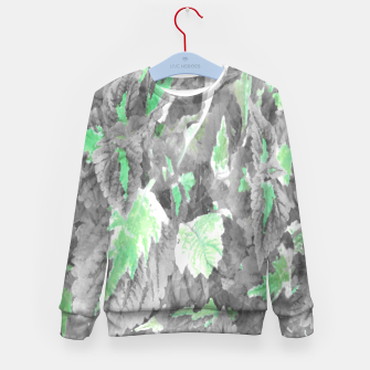 Thumbnail image of botanical coleus leaves camouflage art 3/3 ( gray green ) Kid's sweater, Live Heroes