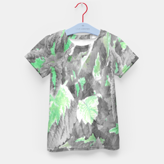 Thumbnail image of botanical coleus leaves camouflage art 3/3 ( gray green ) Kid's t-shirt, Live Heroes