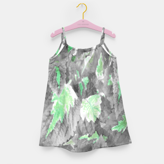 Thumbnail image of botanical coleus leaves camouflage art 3/3 ( gray green ) Girl's dress, Live Heroes