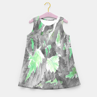 Thumbnail image of botanical coleus leaves camouflage art 3/3 ( gray green ) Girl's summer dress, Live Heroes