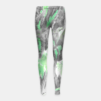 Thumbnail image of botanical coleus leaves camouflage art 3/3 ( gray green ) Girl's leggings, Live Heroes