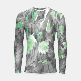 Thumbnail image of botanical coleus leaves camouflage art 3/3 ( gray green ) Longsleeve rashguard , Live Heroes