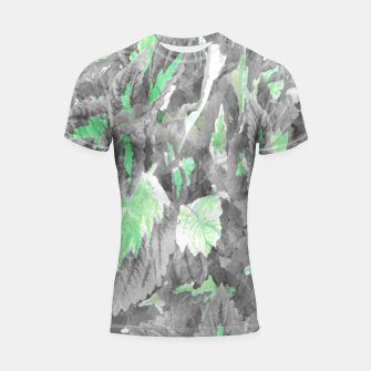 Thumbnail image of botanical coleus leaves camouflage art 3/3 ( gray green ) Shortsleeve rashguard, Live Heroes