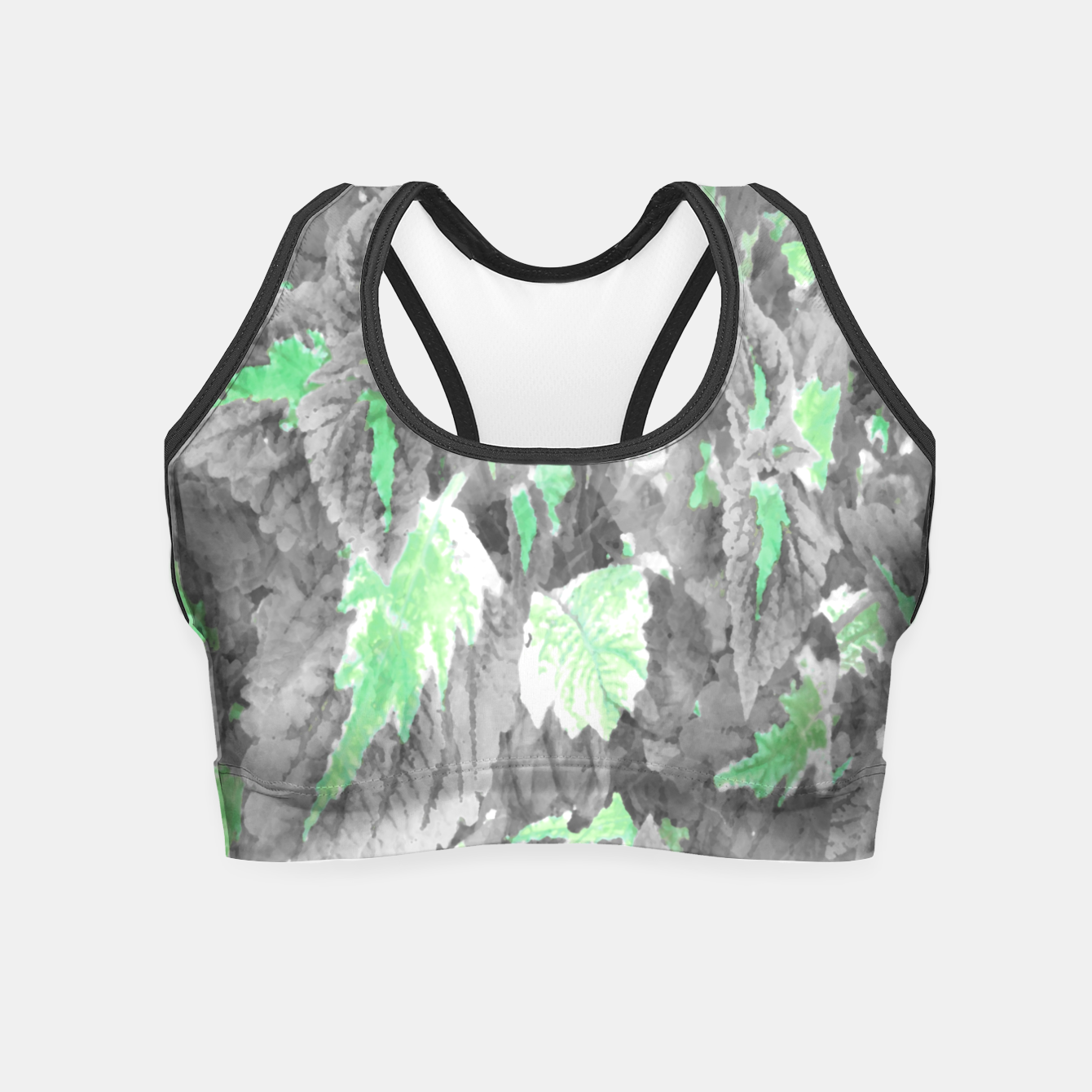 Image of botanical coleus leaves camouflage art 3/3 ( gray green ) Crop Top - Live Heroes