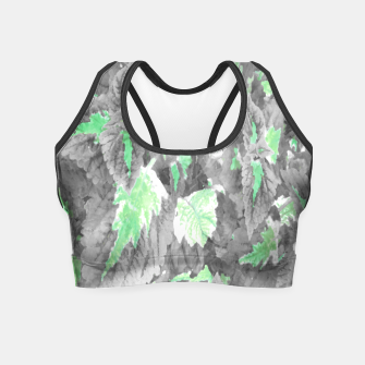 Thumbnail image of botanical coleus leaves camouflage art 3/3 ( gray green ) Crop Top, Live Heroes