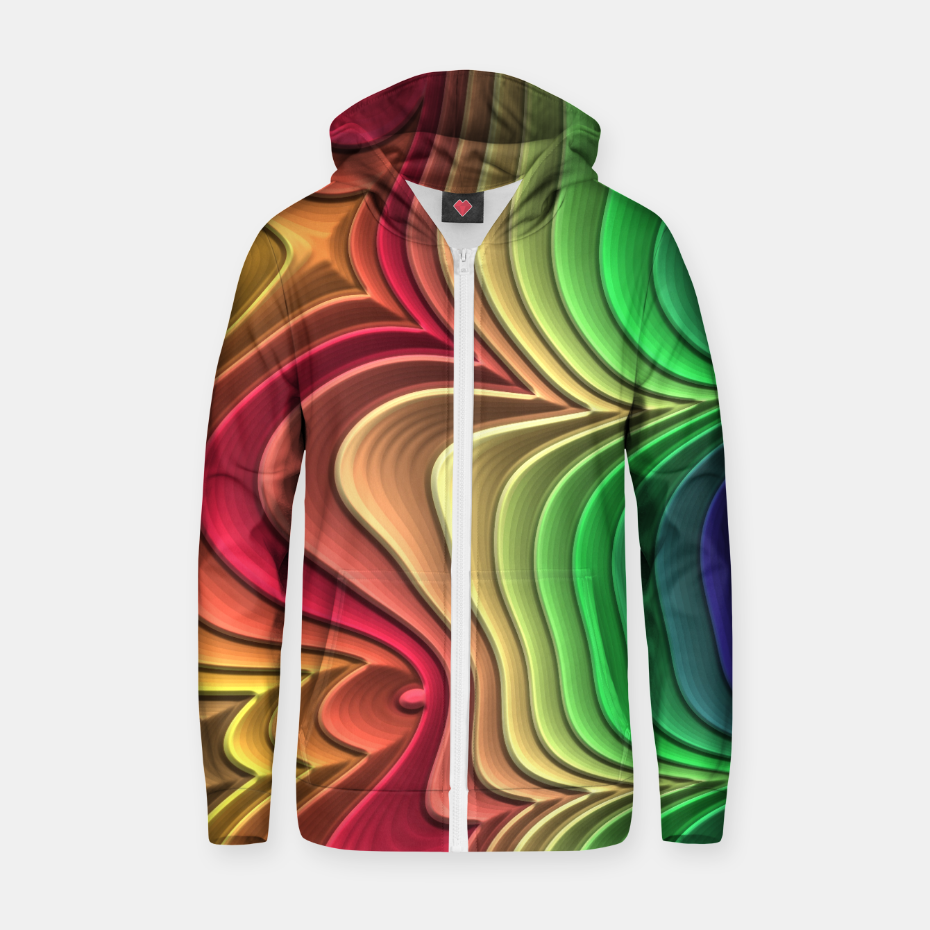 Image of Abstract Layer Waves - 01 Zip up hoodie - Live Heroes