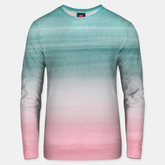 Touching Pink Teal Turquoise Watercolor Abstract #1 #painting #decor #art  Unisex sweatshirt obraz miniatury