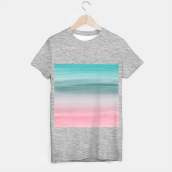 Touching Pink Teal Turquoise Watercolor Abstract #1 #painting #decor #art  T-Shirt regulär obraz miniatury