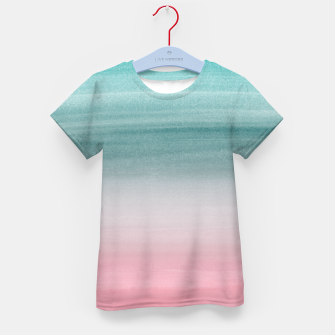 Touching Pink Teal Turquoise Watercolor Abstract #1 #painting #decor #art  T-Shirt für kinder obraz miniatury