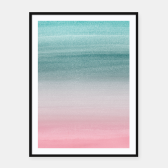 Touching Pink Teal Turquoise Watercolor Abstract #1 #painting #decor #art  Plakat mit rahmen obraz miniatury