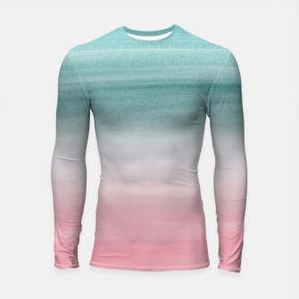 Touching Pink Teal Turquoise Watercolor Abstract #1 #painting #decor #art  Longsleeve rashguard obraz miniatury