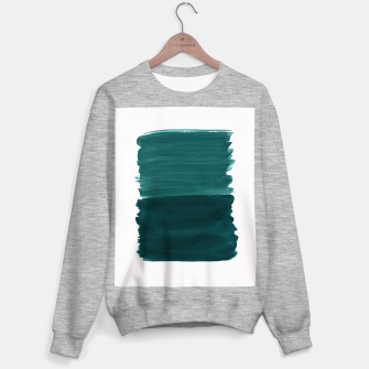 Miniature de image de Dark Teal Emerald Abstract Minimalism #3 #minimal #ink #decor #art Sweatshirt regulär, Live Heroes
