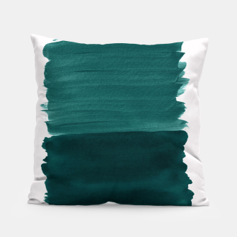 Thumbnail image of Dark Teal Emerald Abstract Minimalism #3 #minimal #ink #decor #art Kissen, Live Heroes