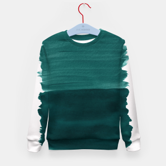 Miniature de image de Dark Teal Emerald Abstract Minimalism #3 #minimal #ink #decor #art Kindersweatshirt, Live Heroes