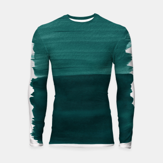 Miniature de image de Dark Teal Emerald Abstract Minimalism #3 #minimal #ink #decor #art Longsleeve rashguard, Live Heroes