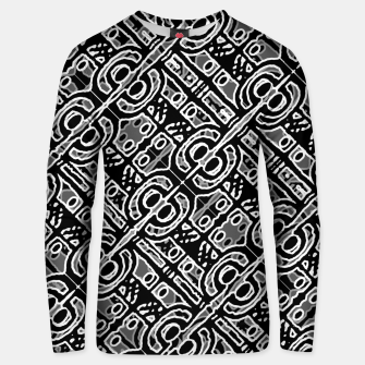 Miniatur Linear Black and White Ethnic Print Unisex sweater, Live Heroes