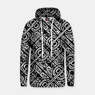 Miniatur Linear Black and White Ethnic Print Hoodie, Live Heroes