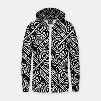 Miniatur Linear Black and White Ethnic Print Zip up hoodie, Live Heroes