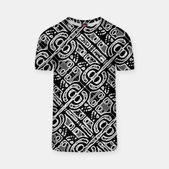 Miniatur Linear Black and White Ethnic Print T-shirt, Live Heroes