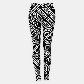 Miniatur Linear Black and White Ethnic Print Leggings, Live Heroes