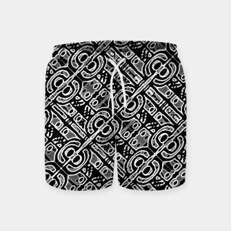 Miniatur Linear Black and White Ethnic Print Swim Shorts, Live Heroes
