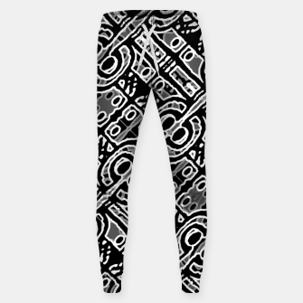 Miniatur Linear Black and White Ethnic Print Sweatpants, Live Heroes