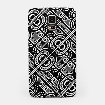 Miniatur Linear Black and White Ethnic Print Samsung Case, Live Heroes