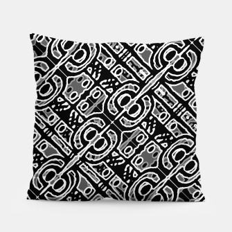Miniatur Linear Black and White Ethnic Print Pillow, Live Heroes
