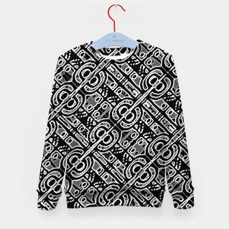 Miniatur Linear Black and White Ethnic Print Kid's sweater, Live Heroes