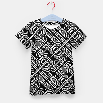 Miniatur Linear Black and White Ethnic Print Kid's t-shirt, Live Heroes