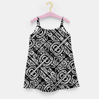 Miniatur Linear Black and White Ethnic Print Girl's dress, Live Heroes